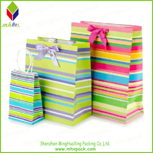 Wonderful Striped Printing Cosmetic Paper Shopping Bag
